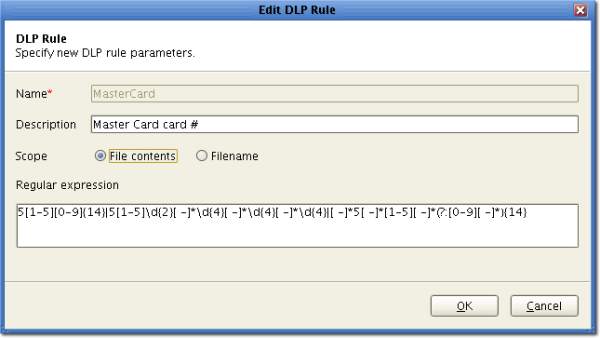 DLP regular expression
