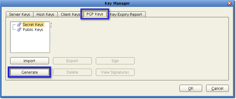 managed secure file transfer   generate pgp keys
