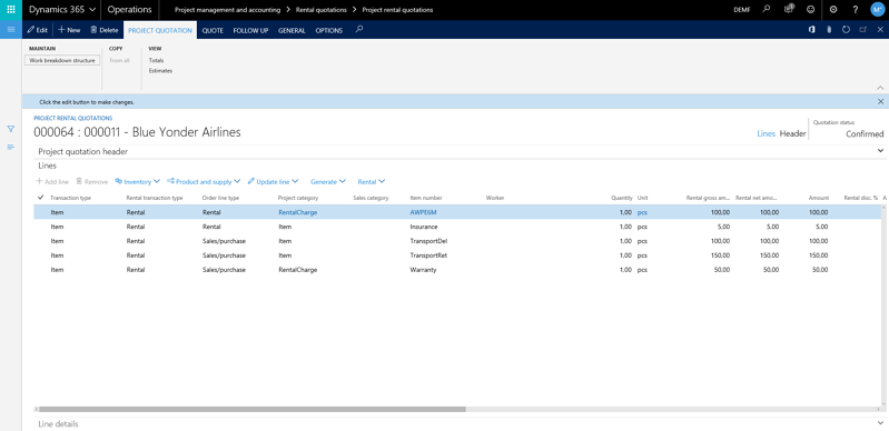 A glance at DynaRent's rental project management features in Dynamics 365 for Finance and Operations