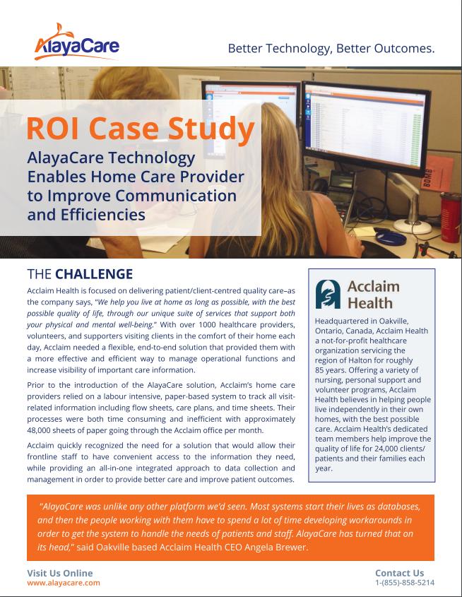 ROI Case Study – Acclaim Health
