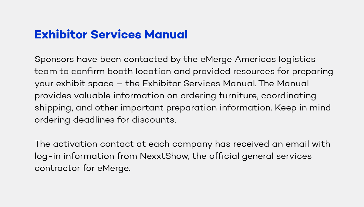 Exhibitor Services Manual