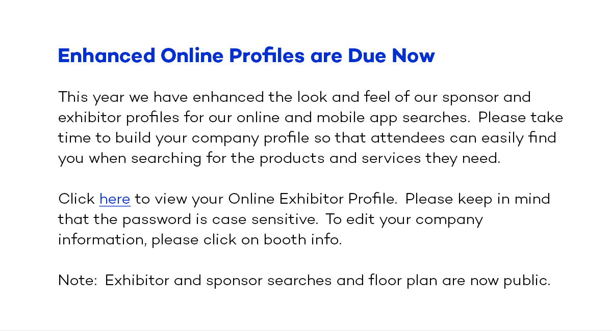 Enhanced online profiles are due now