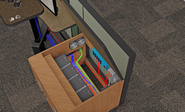 Interior look at CPU storage with cable management