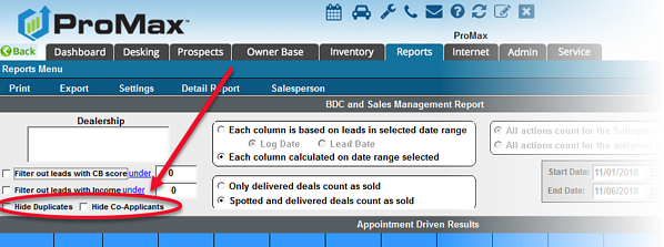 BDC and Sales Management Report Hide CoApps