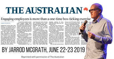 Engaging staff isn't box ticking - Jarrod McGrath - The Australian, June 22-23, 2019