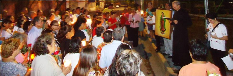 Dawn Rosary procession at Most Holy Mother of the Light Church in Monterrey, Mexico.