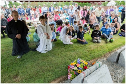 Graveside at Father Peyton's anniversary celebration, June 6, 2015