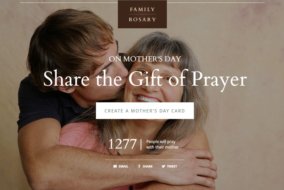 Screen shot of Family Rosary's Mother's Day prayer site.