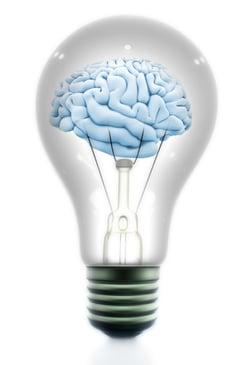 Brain inside a light bulb made in 3D