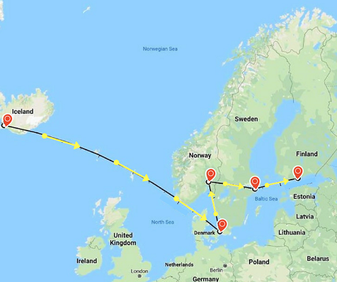 Map of Iceland, Denmark, Norway, Sweden, and Finland
