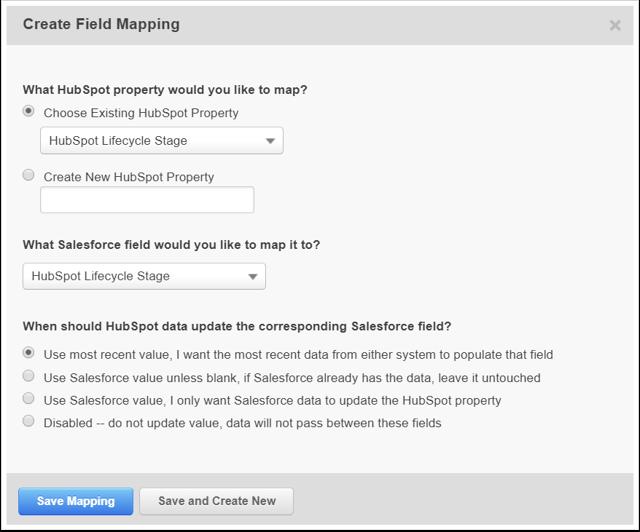 Map HubSpot properties to Salesforce fields