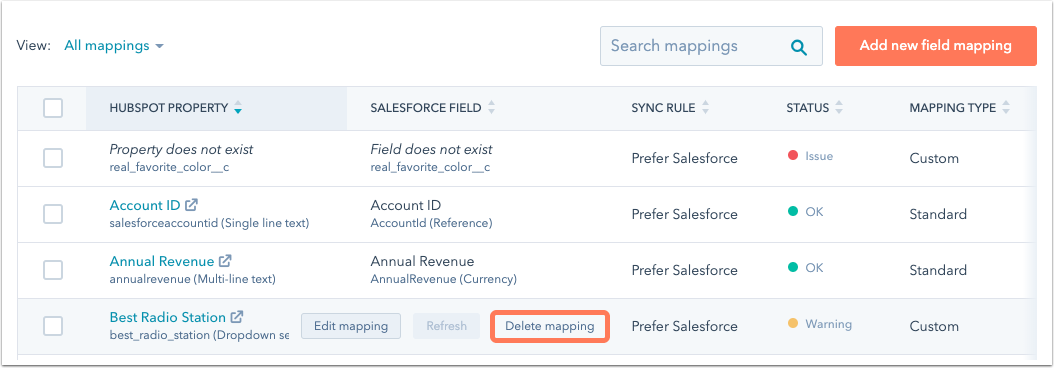 salesforce-delete-mapping
