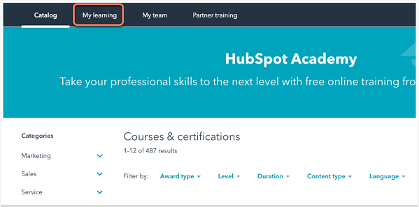 hubspot-academy-my-learning-tab