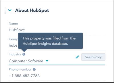 HubSpot Insights on company records