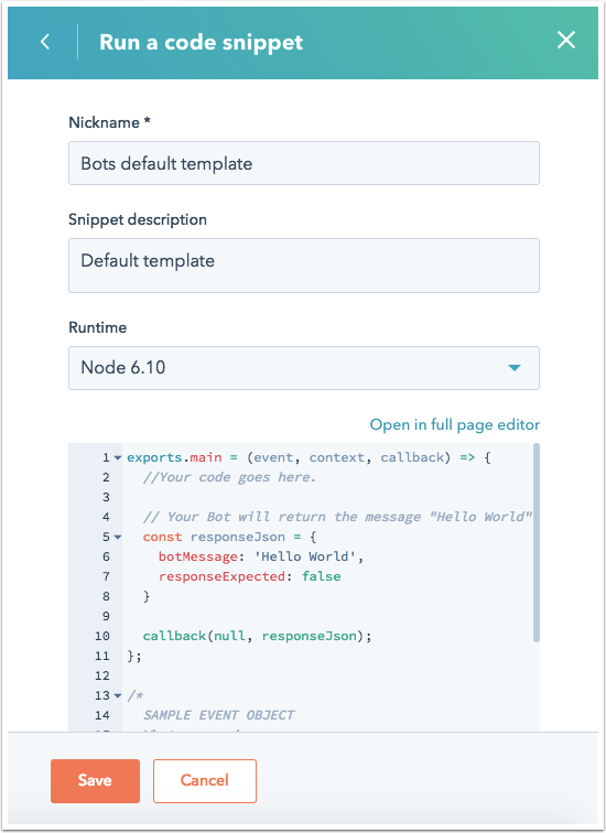 default-code-snippet