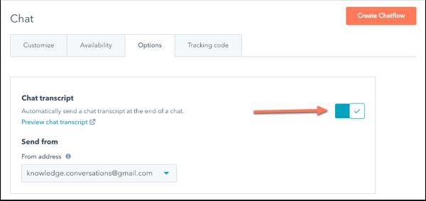 chatflows-options-chat-transcript-settings