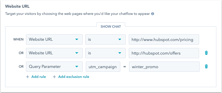 chatflows-updated-website-url-targeting