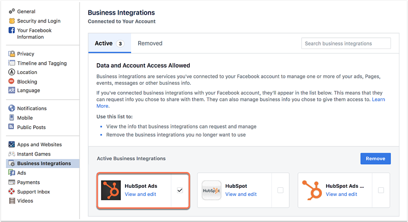 Disconnect your Facebook Ads account from HubSpot