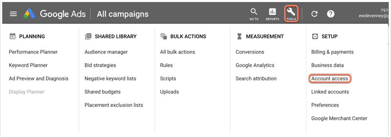 google-campaigns-account-access