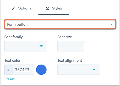 Edit and style your form submit button
