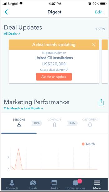 HubSpot mobile app features