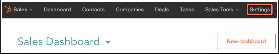 """Der Menüpunkt """"Einstellungen"""" in HubSpot Sales"""