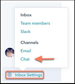 Чатын тохиргоонууд хийх HubSpot CRM системийн Conversations програмыг хэрэглэгчтэй онлайнаар үүсэх бүхий л харилцааны инбокс гэж ойлгож болно. Инбокст нэмэгдсэн шинэ и-мэйлүүдийг уншаад хариу өгөөд явдалтай төстэй. Гол ялгаанууд нь ганц хүн бус багаараа зохион байгуулалттайгаар харилцаа үүсгэх, и-мэйл төдийгүй вэбчат, мессенжерүүдээ нэг дороос удирдах боломж. Info, sales, service, support гэх мэт багаараа дундаа ашигладаг и-мэйл хаягуудад тун тохиромжтой.  Conversations > Inbox Settings > Chat цэсийг сонгож тохиргооны хэсэгт шилжинэ.