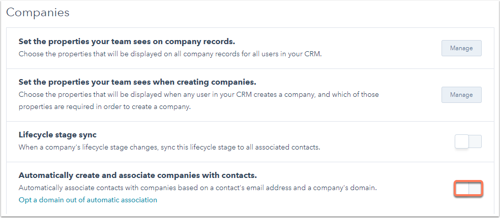 Automatically create and associate companies with contacts