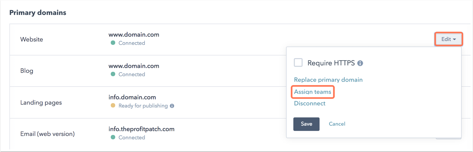 Assign domain publishing permissions to teams