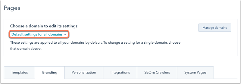 page-branding-per-domain