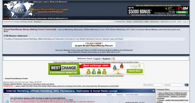 Dreamteammoney homepage
