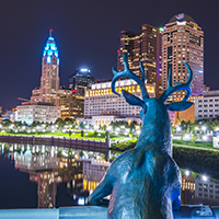 Sculpture of deer in downtown columbus