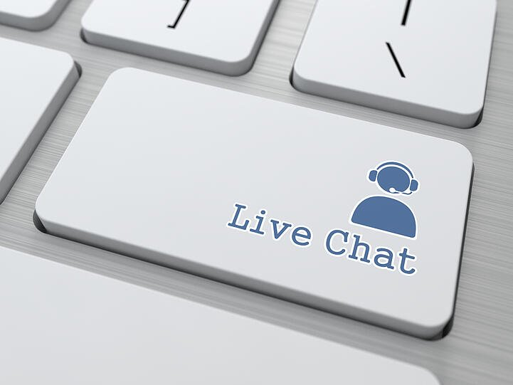 Live Chat Button on Modern Computer Keyboard. (v1)