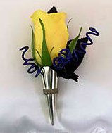 yellow rose boutonniere holder