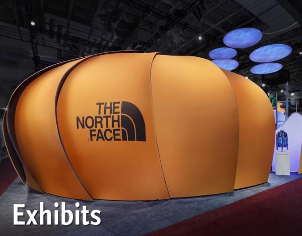 The North Face exhibit features acoustic panels, large format graphics and unique lighting solutions in an award-winning, sustainable exhibit.