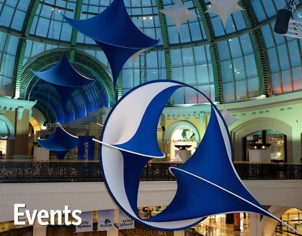 Moon Rays and Star Drops are suspended overhead in the grand hall of Dubai's Metro station.