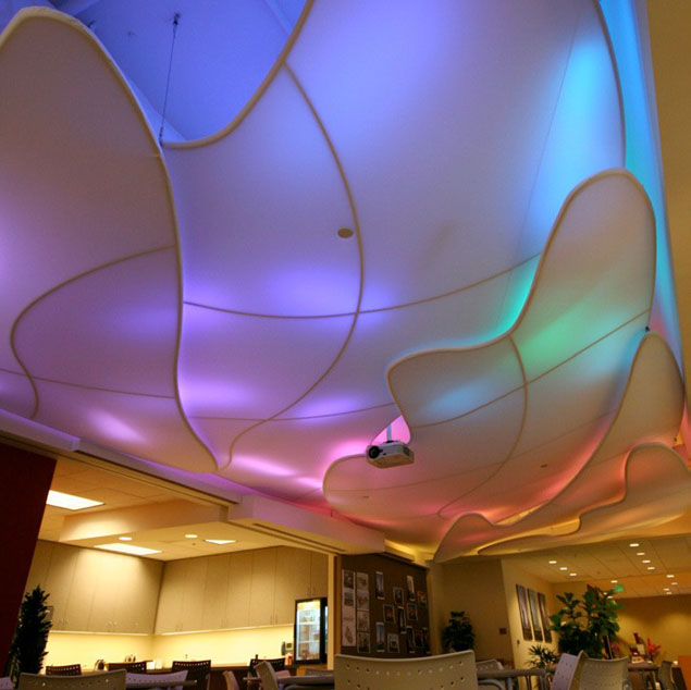 Transformit was asked to create a cloud shaped ceiling that acts as a light diffuser