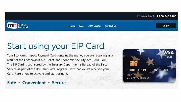 Photo image of debit card website