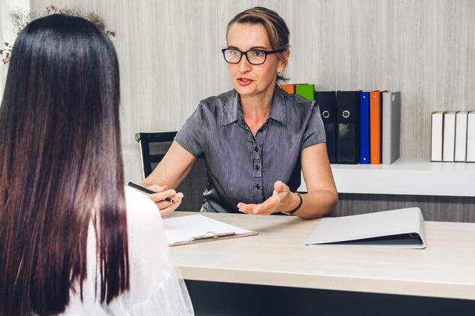 bigstock-Businesswoman-Employee-During--279594088
