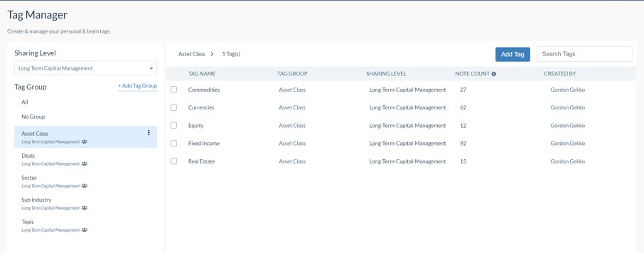 Sentieo Tag Manager