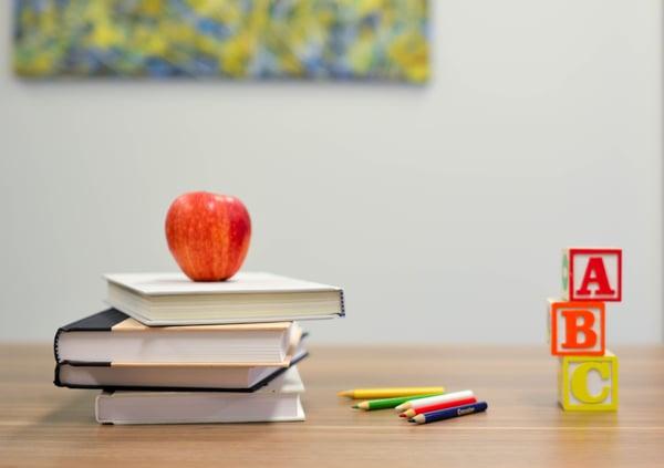 school books on a desk