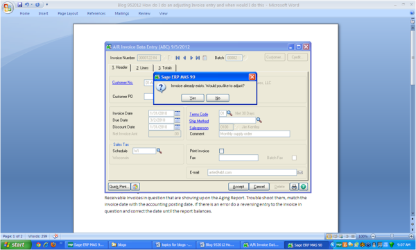 In Sage 100 ERP, how do I do an adjusting invoice entry and