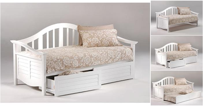 get a light and airy daybed in white with optional trundle or drawer set under bed