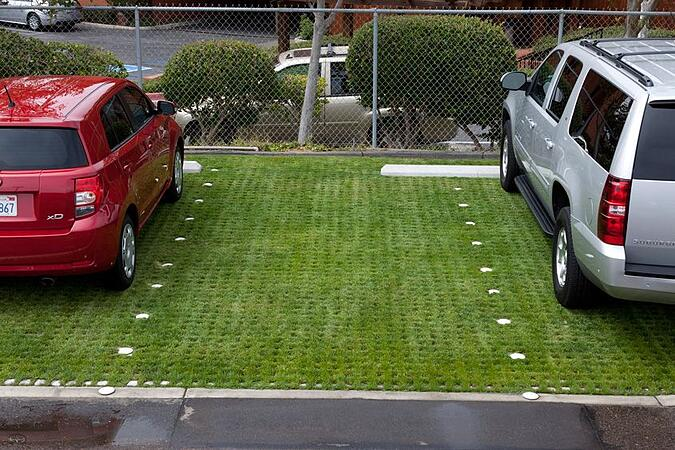 Drivable grass parking lot