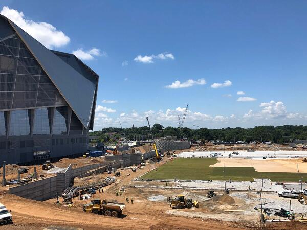 TifTuf being installed at Mercedes Benz Stadium tailgate area