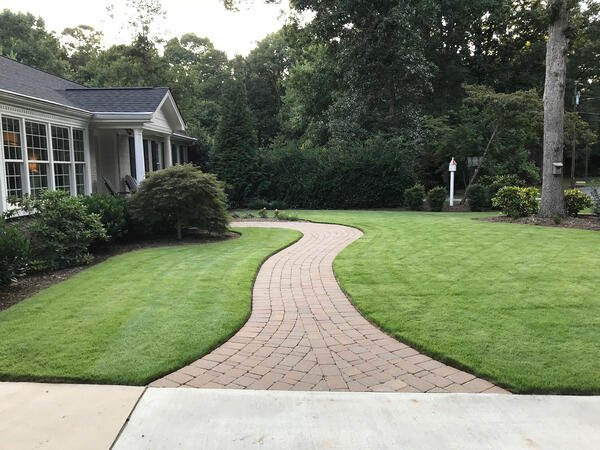 Zeon Zoysia lawn with a walkway