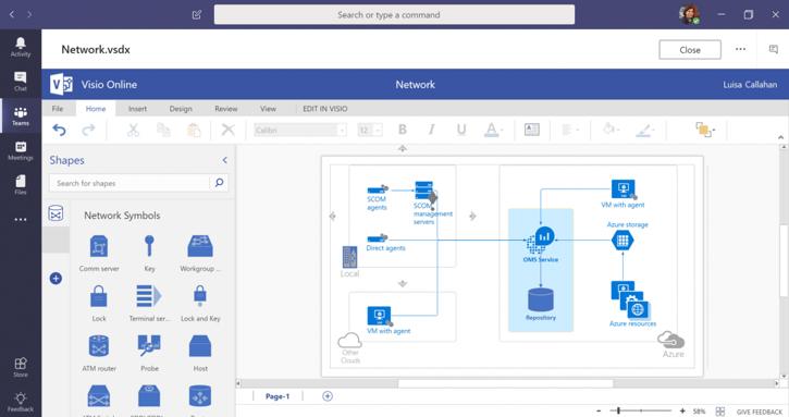 Microsoft Vsio diagrams via Teams