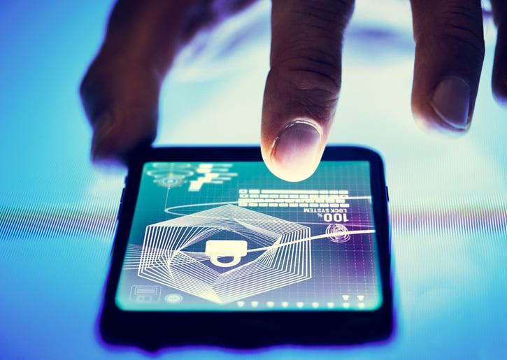 fingerprint scan on smartphone