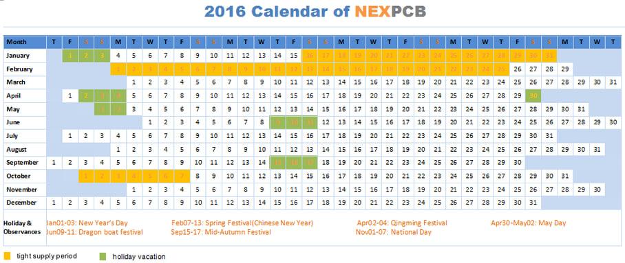 2016 Vacation Calendar