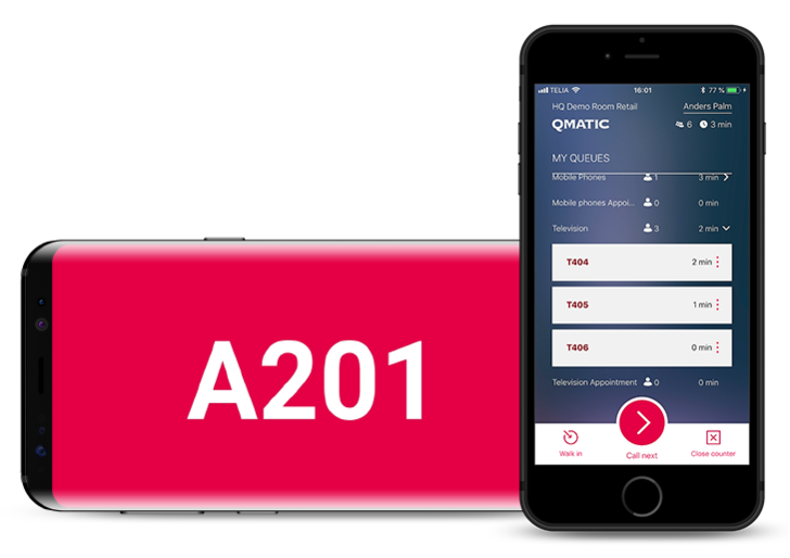 Qmatic Connect Agent user interface shown on two smartphones